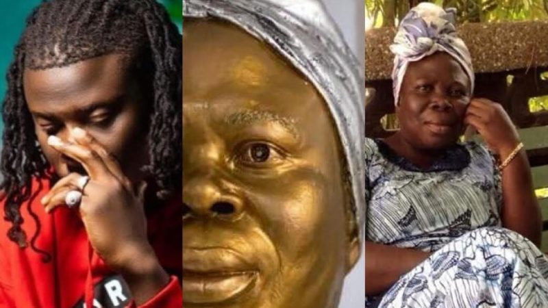 Stonebwoy Shares A Heartfelt Message As She Celebrates His Late Mum's 64th Birthday With A Portrait Drwaing