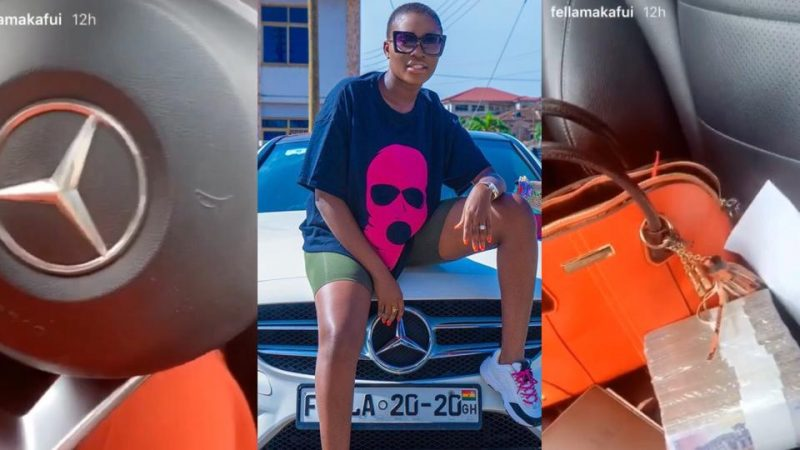 Fella Makafui Flaunts The Inside Of Her Expensive Benz As She Displays Bundles Of Cash