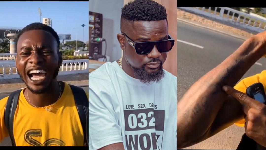 Sarkodie Lost Of Words After Meeting An Obsessed Who Had His Name Tattooed All Over His Arms