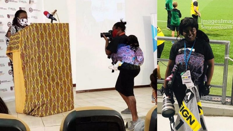 (Photos)Social Media Fall In Love With Photos Female Photographer Working With Her BaBy At Her Back