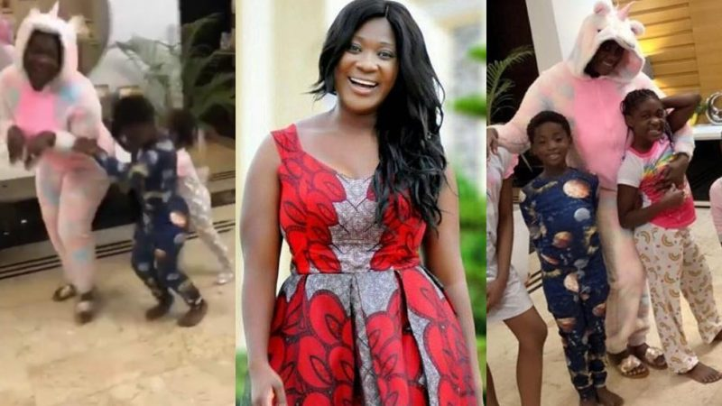 Nigerian Actress Mercy Johnson Haves Fun With Her Family As She Plays With Her Children