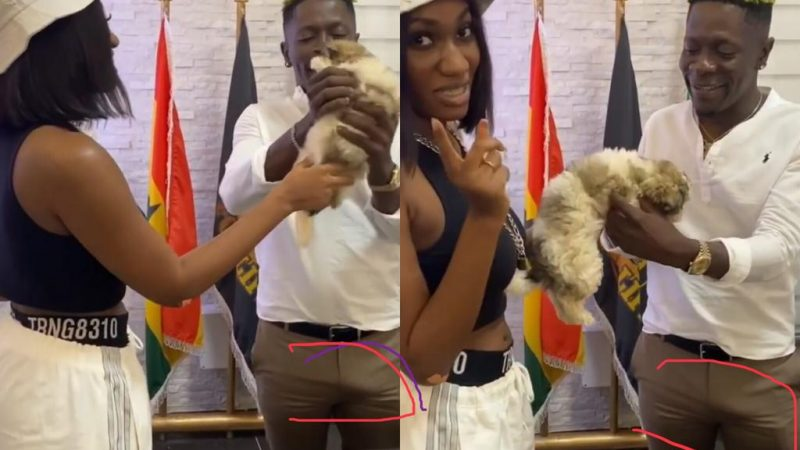 Shatta Wale's Big Cassava Jacks Up While With Wendy Shay In His Office (Video)