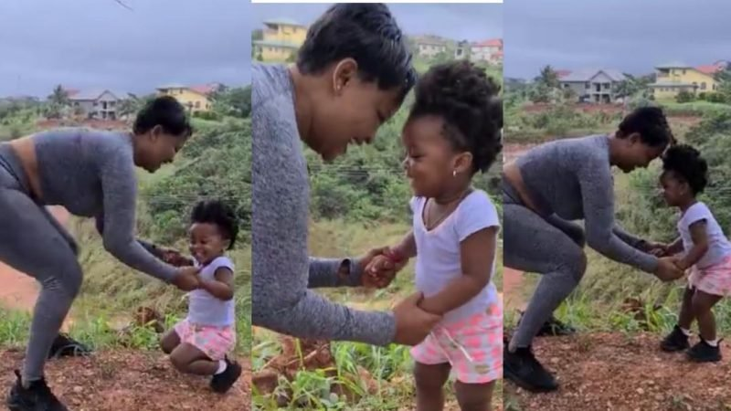 Happy BaMaxin Joins Mother Nana Ama McBrown, To Do Squats During Her Workout