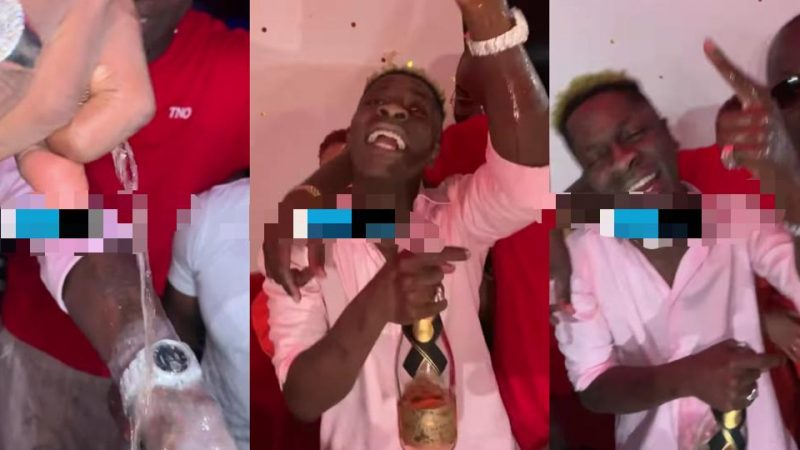(Video) Money Overload – The Moment Shatta Wale Poured Champagne On His Expensive Watch