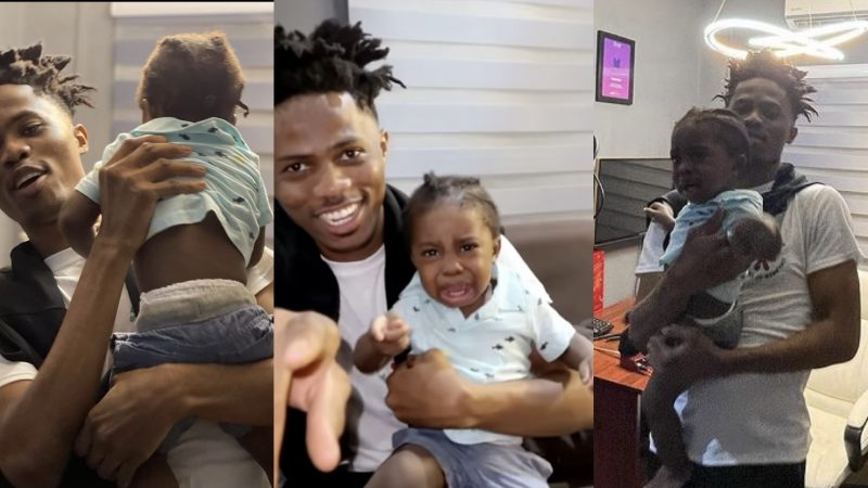 Adorable Moment Of Kwesi Arthur Playing With Fameye's Son